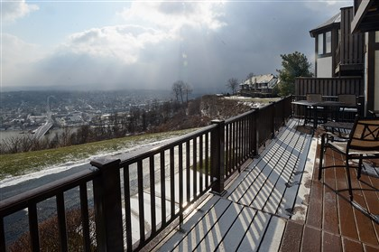 Condo on Shadow Ridge Drive, Harmar 4 First-floor deck off the family room and kitchen offers sweeping views of Oakmont and the Allegheny River valley.