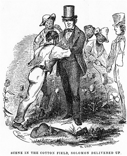 "'Twelve Years a Slave' illustration, 1854 An original illustration from the 1854 edition of ""Twelve Years a Slave"" shows Solomon Northup greeting his New York neighbor, lawyer Henry Northup, who will take him back North. The illustration was reprinted in the 2013 Penguin Books edition of Solomon Northup's narrative."