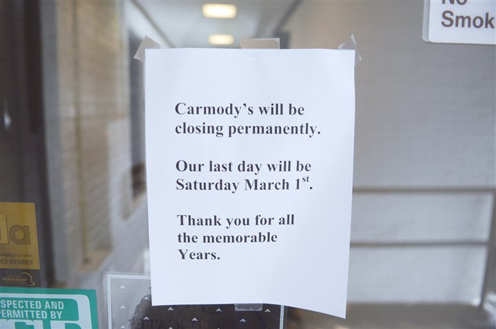 Carmody 1 Carmody's, a long-time institution in Franklin Park, shut its doors March 1.