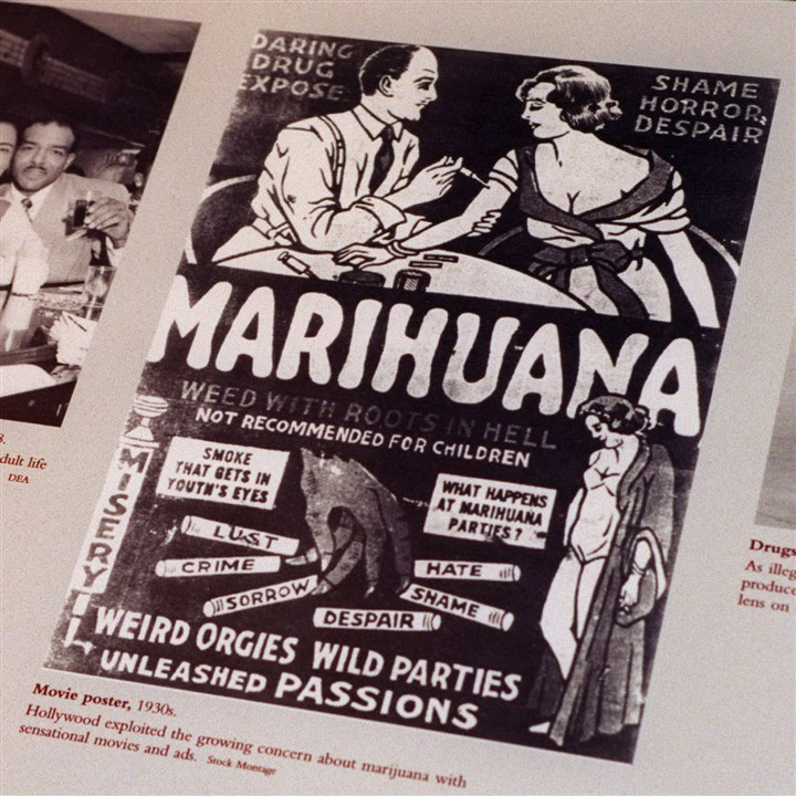 1930s anti-marijuana movie poster A file photo from the Drug Enforcement Administration shows a 1930s anti-marijuana movie poster. After the repeal of alcohol prohibition in 1933, Harry Anslinger, who headed the Federal Bureau od Narcotics, turned his attention to pot.
