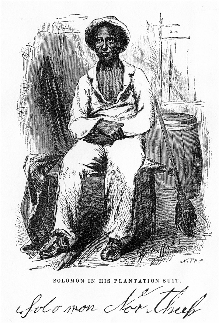 Solomon Northup woodcut Woodcut of Solomon Northup in his plantation suit.