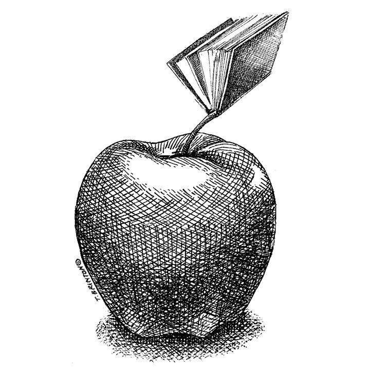 Illustration: Apple with book