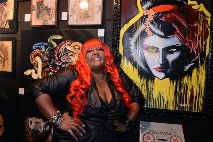 20140227bwRawSeen01 Danielle Robinson of East Liberty with her art.