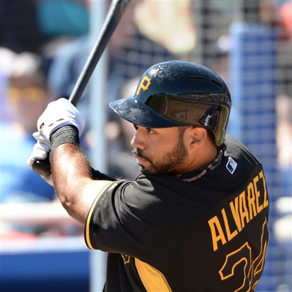alvarez0301 Pirates third baseman Pedro Alvarez singles against the Blue Jays in the first inning Friday in Dunedin, Fla.