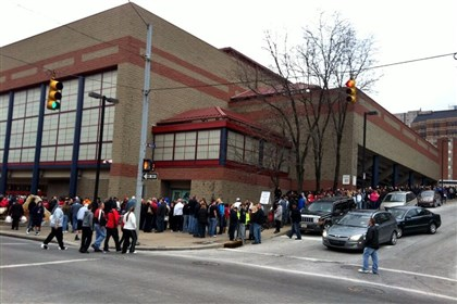 Line for Hampton-New Castle tickets Two hours before tip-off, the line for tickets to the Hampton-New Castle game snaked for what seemed like miles.