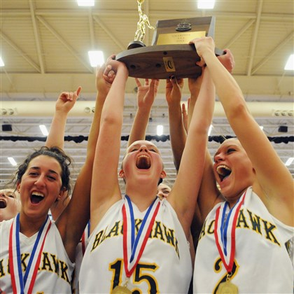 blackhawk0302a Blackhawk's players raise the WPIAL Girls AAA championship trophy after beating South Park Saturday at Palumbo Center.