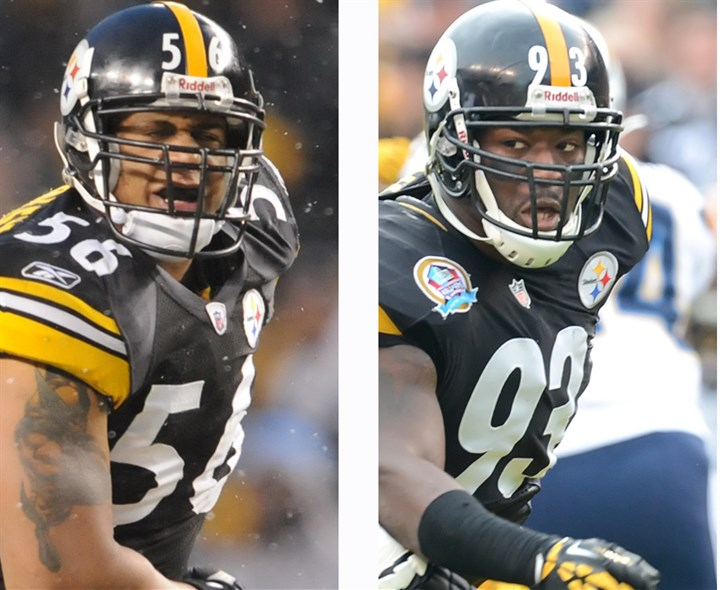 20140302_SteelersLinebackers Virtually everyone agrees that, all things being equal, Jason Worilds, right, is more valuable to the Steelers right now than LaMarr Woodley because of health and youth.