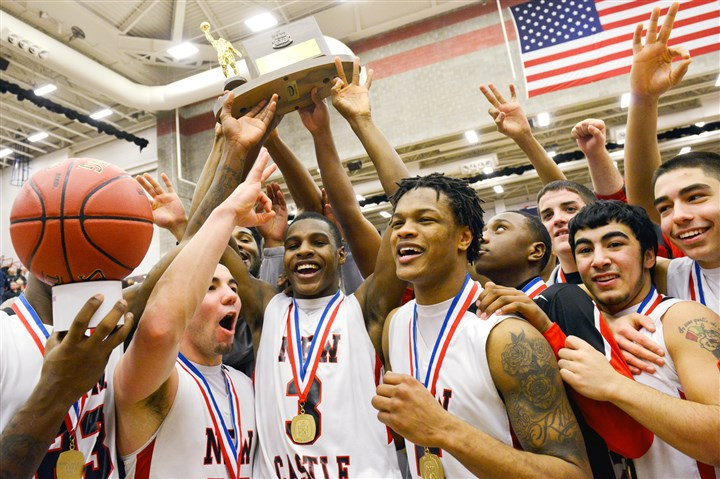 New Castle New Castle celebrated beating Hamption High School in the Boys WPIAL AAAA Basketball Championship at the Palumbo Center earlier this month, but they have loftier goals this weekend in Hershey -- a state title and a perfect season.