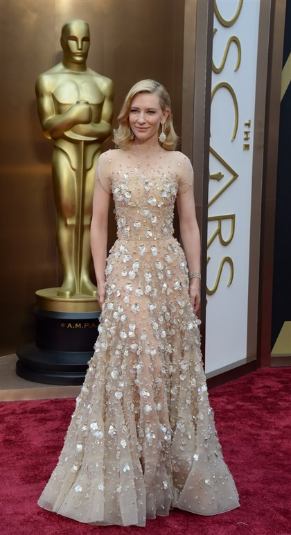 "9nc00pxt-1 Cate Blanchett in an Armani gown arrives at the Academy Awards, where she won best actress for ""Blue Jasmine."""
