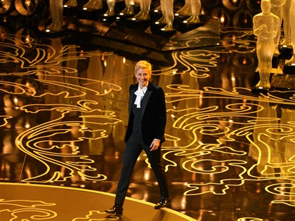 20140303Oscars_set2 Ellen DeGeneres hosts the Oscars at the Dolby Theatre on Sunday.