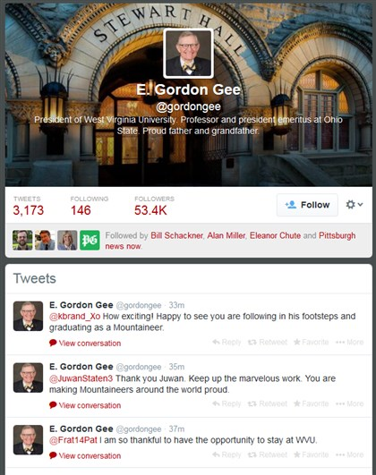 Gordon Gee's Twitter account E. Gordon Gee has been active on Twitter.