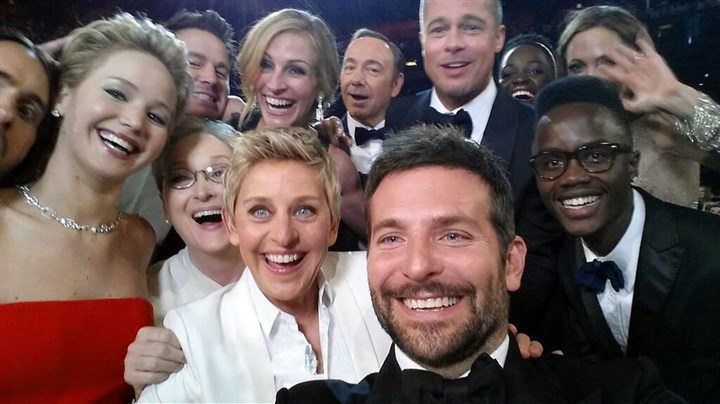 "Ellen DeGeneres selfie Ellen DeGeneres rounds up an all-star selfie with actors front row from left, Jared Leto, Jennifer Lawrence, Meryl Streep, Ellen DeGeneres, Bradley Cooper, Peter Nyong'o Jr., and, second row, from left, Channing Tatum, Julia Roberts, Kevin Spacey, Brad Pitt, Lupita Nyong'o and Angelina Jolie as they pose for a ""selfie"" during the Oscars on Sunday."