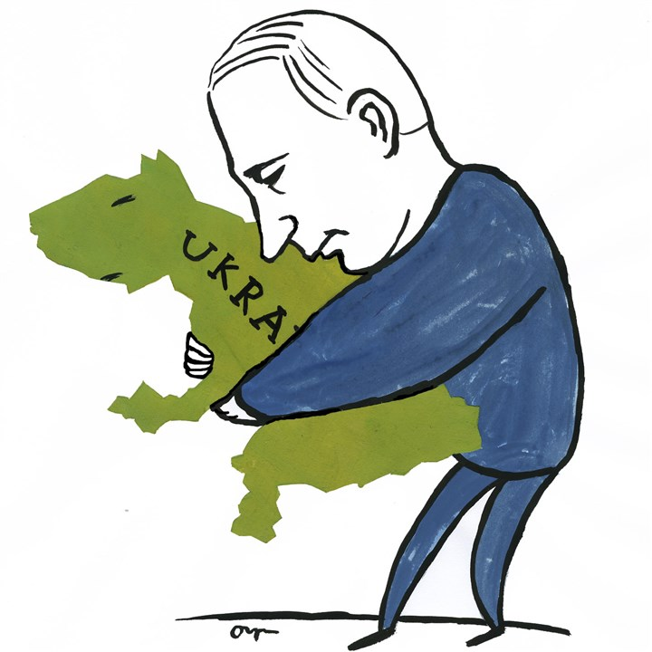 Illustration: Putin holding Ukraine