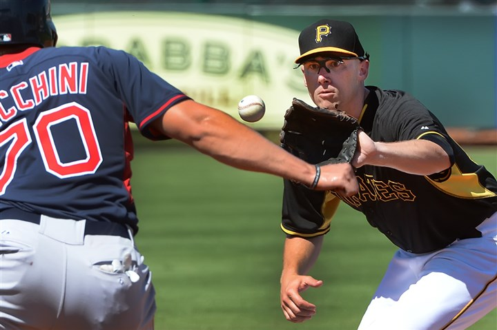 Pirates shortstop Clint Barmes Pirates shortstop Clint Barmes tags out the Red Sox Garin Cecchini Monday afternoon at McKechnie Field in Bradenton.