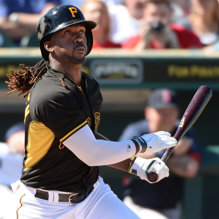 Cutch Andrew McCutchen singles against the Red Sox Monday afternoon at McKechnie Field in Bradenton.