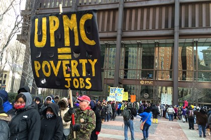 Protesters leave the plaza at the U. S. Steel Tower Protesters leave the plaza at the U. S. Steel Tower, which houses UPMC headquarters, Tuesday morning. Mayor Peduto's chief of staff, Kevin Acklin, read a statement from the mayor acknowledging the concerns of the protesters and asking them to disband.
