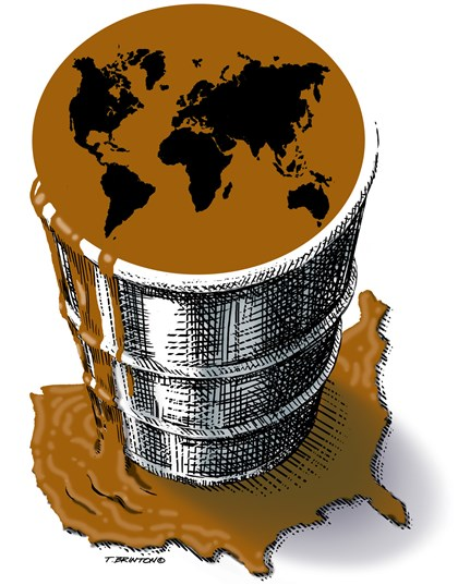 Illustration: World oil barrel spilling into U.S.