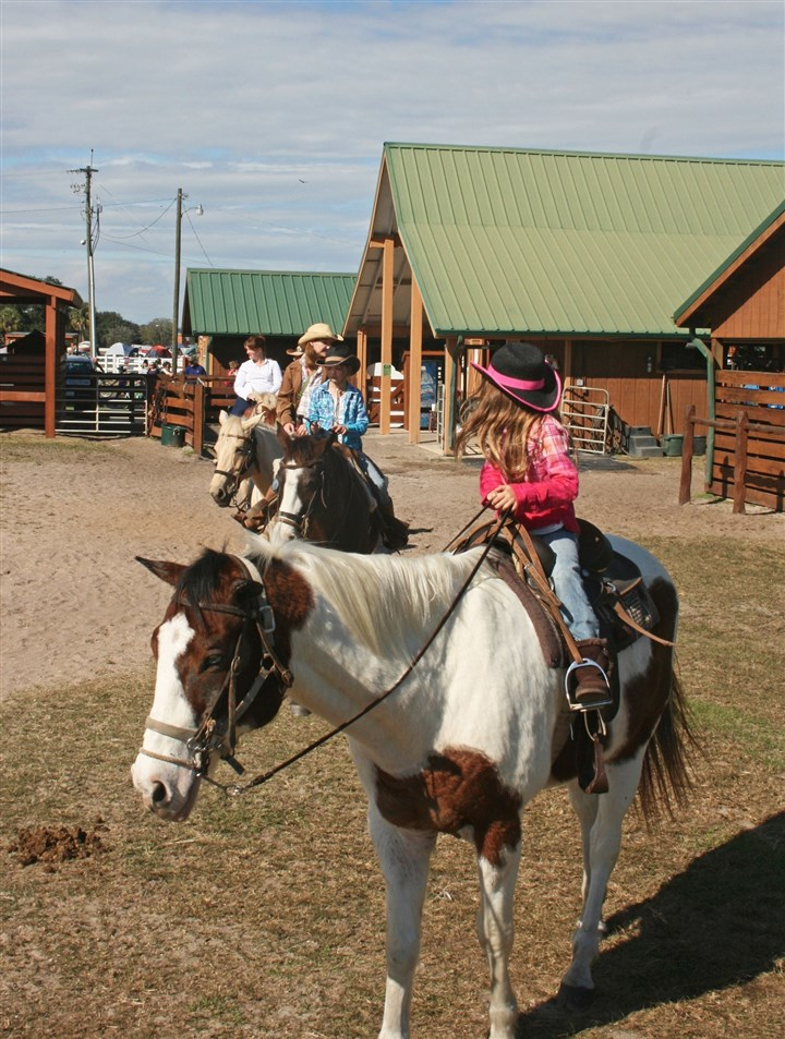 Guests set out on a 45-minute horseback ride Guests set out on a 45-minute horseback ride, on which there is no trotting or galloping.
