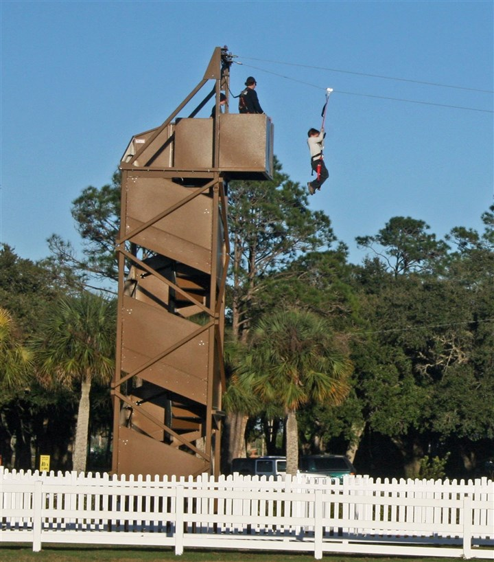 The zip line The zip line, which is operational only on Saturdays, attracts plenty of young riders.