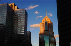 Highmark headquarters at Fifth Avenue Place as seen at sunset in February.