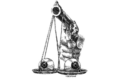 Illustration: Guns weighing eyes