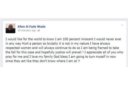 Allen Wade posting on Facebook, Mar. 5 Allen Wade, 43, charged in the February deaths of Susan and Sarah Wolfe in East Liberty, apparently posted on social media just after noon Mar. 5.