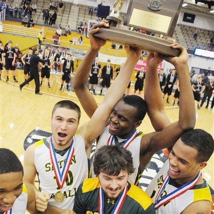 Seton-LaSalle Seton-LaSalle seniors David Boehme, Levi Masua and Malik White hoist the WPIAL Class AA boys basketball championship trophy after defeating Greensburg Central Catholic Saturday at the Palumbo Center earlier this month.