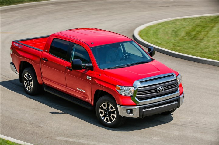 tundra-1 The 2014 Toyota Tundra SR5 Crewmax is big — so big you can take it all with you, and so big that it may become cumbersome to navigate, more so than competitors Chevy Silverado or Ford F-150.