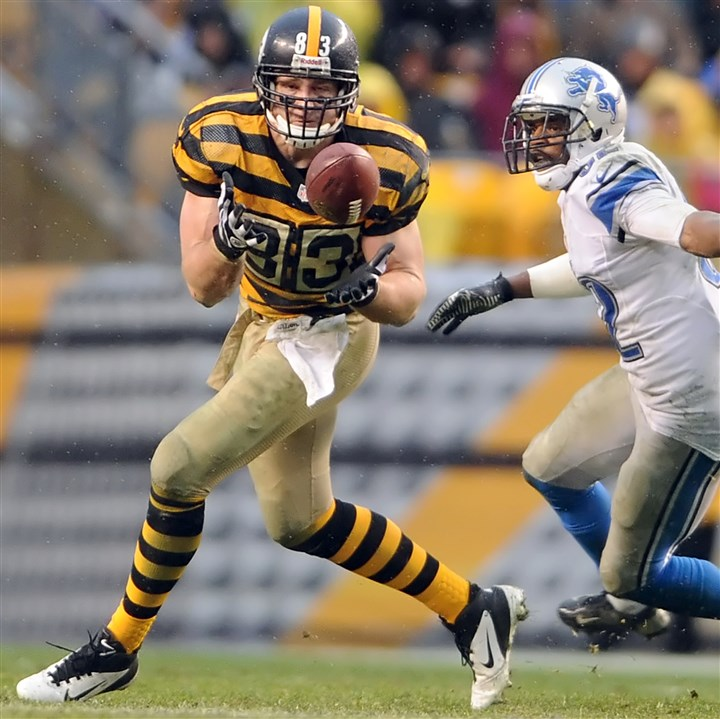 Heath Miller Heath Miller pulls in a pass in front of Lions' Don Carey in the fourth quarter at Heinz Field in November.