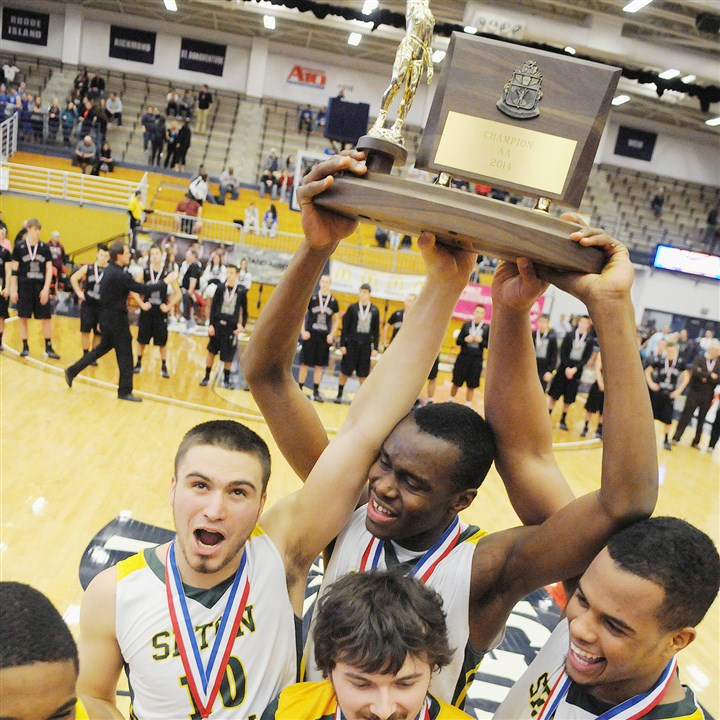 20140301cmAABBall01Spt.jpg Seton-LaSalle seniors David Boehme, Levi Masua and Malik White hoist the WPIAL Class AA boys basketball championship trophy after defeating Greensburg Central Catholic Saturday at the Palumbo Center.
