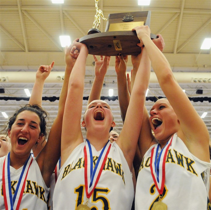 20140301cmAAABBall001Spt.jpg Blackhawk's Halle Denman, Sarah Weyand and Chassidy Omogrosso raise the WPIAL Class AAA girls basketball championship trophy at the Palumbo Center after defeating South Park last Saturday.
