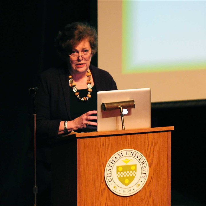 Chatham University President Esther Barazzone  Chatham University President Esther Barazzone addresses alumnae during a forum held to discuss whether the university should become a coed institution.