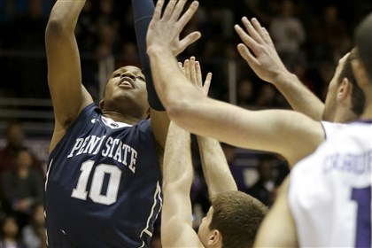 Penn St Northwestern Basketball Penn State forward Brandon Taylor shoots against Northwestern during the first half.