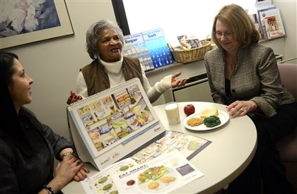20140307ppDiabetes1HEALTH Annette Baldwin, 75, of Braddock talks about the Diabetes Education Program at UPMC McKeesport, with Carla DeJesus, left, a diabetes specialist, and Janice Koshinsky, the diabetes program manager at the hospital.