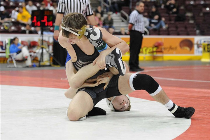 PIAA wrestling, Wentzel South Park sophomore Jake Wentzel, back, was pinned 1 minute, 56 seconds into the 138-pound semifinal match of the PIAA Class AA wrestling tournament by Southern Columbia junior Kent Lane on Friday at Giant Center in Hershey, Pa.