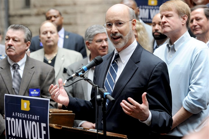 Tom Wolf supported by local Democrats Gubernatorial candidate Tom Wolf speaks during an endorsement announcement Saturday in the courtyard of the Allegheny County Courthouse.