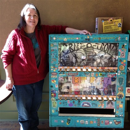 Craft-O-Tron machine at Crazy Mocha Lynne Kropinak with the Craft-O-Tron machine at Crazy Mocha in Bloomfield.