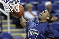 Pitt's Lamar Patterson drives for a dunk in a practice Tuesday for the ACC tournament in Greensboro, N.C.