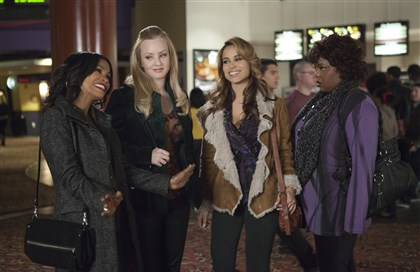 "20140314SingleMomsClub1 From left, Nia Long, Wendi McLendon-Covey, Zulay Henao and Cocoa Brown star in Tyler Perry's ""The Single Moms Club."""