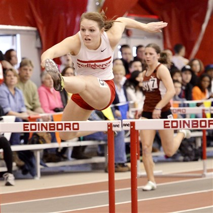 20140310hoBemiszsports.jpg Tabitha Bemis, a Quaker Valley High School graduate, is an outstanding hurdler among other talents for the Edinboro University track & field team.