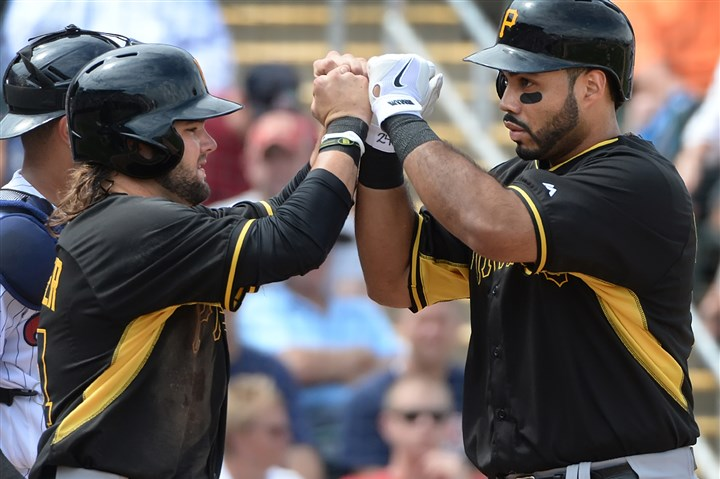 Pirates third baseman Pedro Alvarez Pirates third baseman Pedro Alvarez, is greeted in the dugout after Alvarez' two-run homer in the third inning Wednesday against the Twins at Hammond Stadium in Fort Myers, Fla.