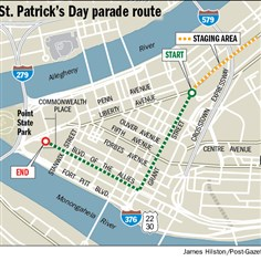 Map: 2014 St. Patrick's Day parade route The 2014 St. Patrick's Day parade route travels near the perimeter of Downtown, along Grant Street and Boulevard of the Allies to Commonwealth Place.