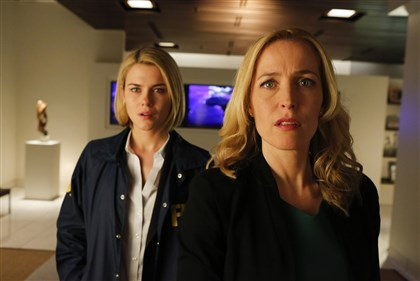 "20140314HOCrisis1-1 Rachael Taylor as Agent Susie Dunn and Gillian Anderson as Meg Fitch in ""Crisis."""