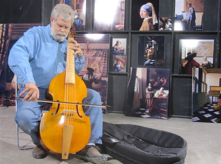 "TimsVermeer1-2 In his warehouse in San Antonio, Texas, Tim Jenison plays the viola de gamba he used to furnish his Vermeer room in ""Tim's Vermeer"""
