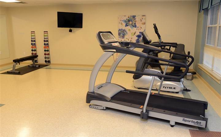The fitness room The fitness room is equipped with a treadmill, stepper and weights.