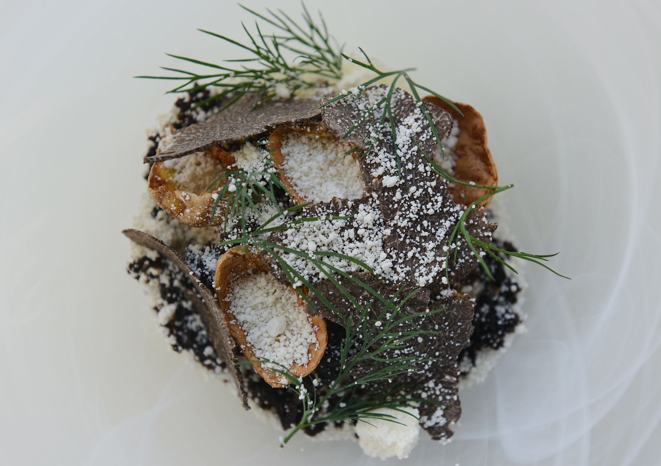 20140306jrdine7-1 Potatoes in olive oil with black truffles and dill garnish at Notion in East Liberty.