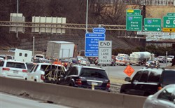 Traffic nears the Fort Pitt Tunnel on the Parkway West inbound.