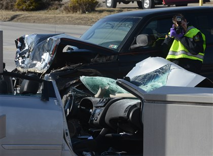 Vehicles are photographed after a crash Vehicles are photographed after a crash at East Hardies Road and Route 8 in Hampton Township.
