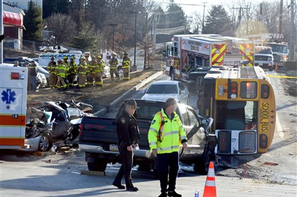 crash scene on East Hardies Road Emergency responders work at the crash scene on East Hardies Road at the intersection with Route 8 in Hampton Township.