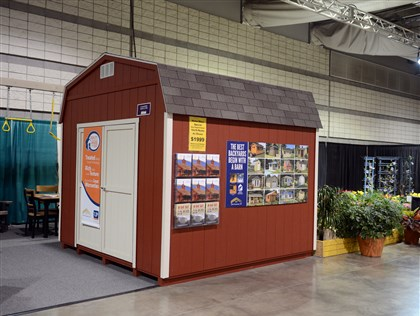 20140313bwShedsHomes01 The 10-foot-by-10-foot Mystic by JDM Structures, sold here by Country Barns ($1,999 including delivery, installation and painting), is one of the sheds on display at the Home & Garden Show.